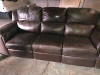 Italian leather electric reclining sofa