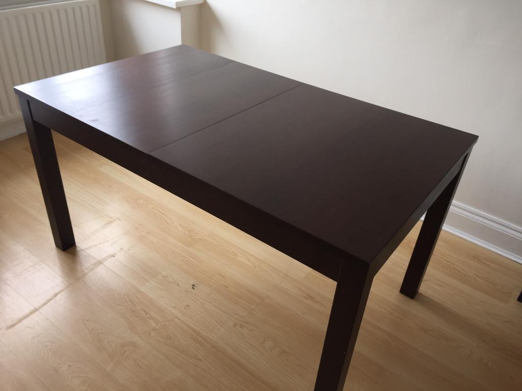 Used Ikea Bjursta Extendable Table In Black Brown In
