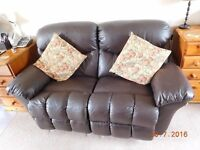Brown faux leather 2 seater recliner