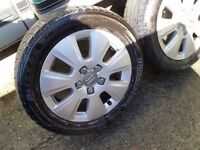 "Audi Alloys set of 4 with tyres came off a 2009 A3 tdi ""16"" 205/55/16 Genuine l@@k l@@k"