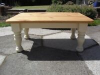 Shabby Chic Solid Pine Chunky Farmhouse Country Coffee Table In Farrow & Ball Cream No 67