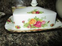 royal albert old country roses fine bone china butter dish