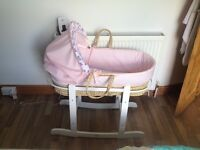 Pink Moses basket for sale