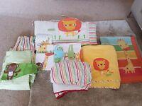 Nursery set- cot bedding, bumper, sheet, fleece, curtains, rug, canvas, cot mobile