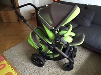 Jane TwOne Double / Tandem Pram / Pushchair and matching Matrix Light 2 Car Seat and Isofix base