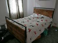Handmade Solid Wood and Steel Double Bed. Industrial Vintage