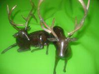 Vintage 2 Large Brass Stag Deer centrepiece reindeer Christmas decoration