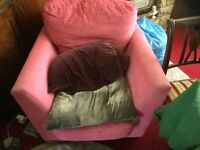 Pink armchair and Footrest - Almost Brand New