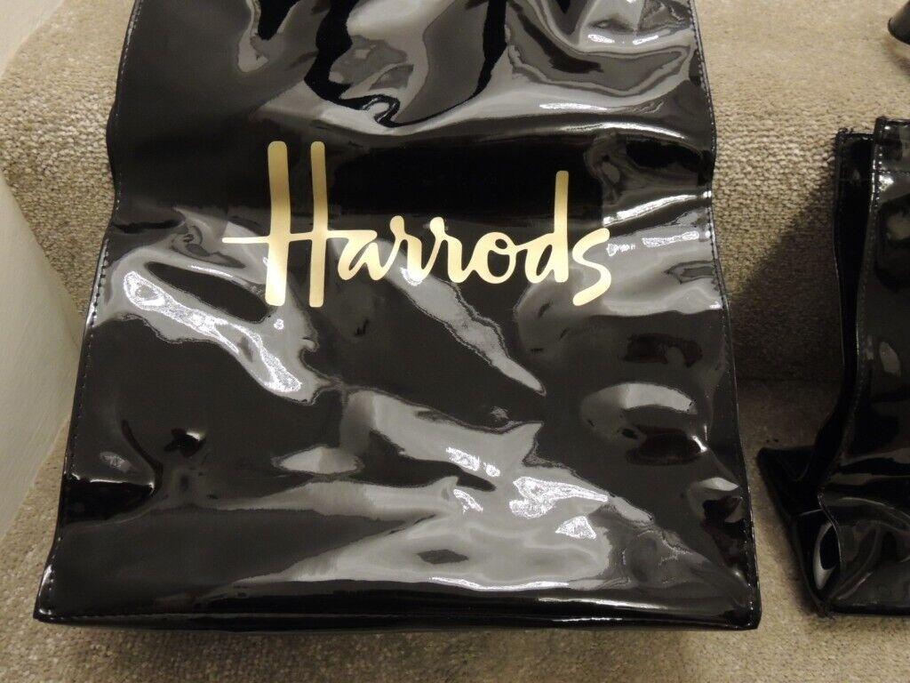 0b943e9473 2 x Brand New Original Signature Logo Harrods Black Patent Shopper Tote Bag  Vintage