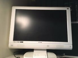 LOGIK 22'' TV WITH BUILT IN DVD PLAYER AND IPOD DOCK - WHITE - with remote and manuals
