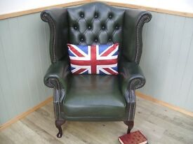 Stunning Green Leather Chesterfield Chair.