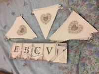 3 lengths of wedding bunting and bunting kit