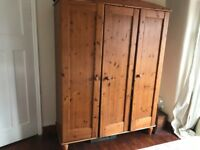 Pine triple wardrobe, tallboy drawers and double headboard