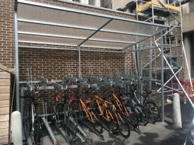 Bike canopy and bike racks which can hold up to 20 bikes at a time
