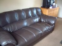 Three seater settee (brown leather) £40 ono
