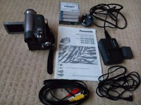 Panasonic MiniDV digital camcorder with padded shoulder/carry case and accessories