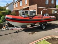 Valiant DR490 Rib Boat with Evinrude E-Tec 50hp and multi roller road/launching trailer