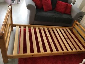 Full size.. Solid pine single bed. Ideal first child's bed