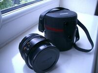 KONICA HEXANON AR 28MM F3.5 WIDE ANGLE LENS WITH CASE