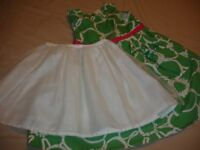 Mini Boden Green Floral Summer Party Dress with Underskirt Age 5 - 6 Years