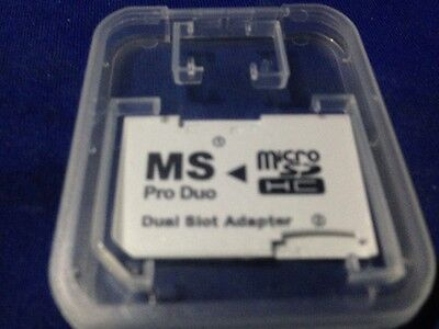 1x Micro SD TF to Memory Stick MS Pro Duo PSP Card Dual 2 Slot Adapter Convert