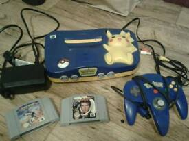 Nintendo 64 Pikachu edition console (unboxed) with 2 games