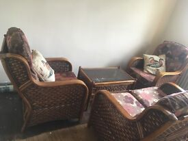 Lower PRICE!!!Conservatory 3 piece suite with coffee table. Excellent condition, labels still on it.