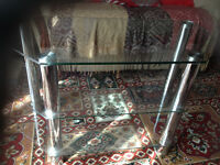 VERY GOOD CONDITION CLEAR GLASS & CHROME TV STAND