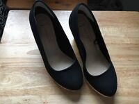 Gorgeous Black Canvas with Platform Heels (Size UK3-4) - worn only once