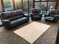 Black Leather 3 Seater Sofa + 2 Armchairs Good Condition
