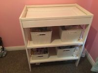 Baby changing table and nappy bin
