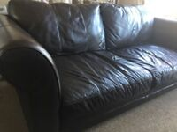 Large leather sofa, dark brown, great condition