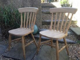 GREAT SHAPE SOLID PINE CHAIRS X 4