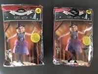 Halloween Purple Witch Costume Child 11-12 years x2