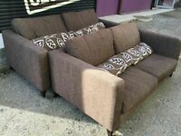 Brown Fabric 3 + 2 seater