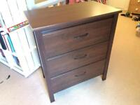 IKEA chest of 3 drawers brown very good condition