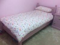 shabby chic single pink solid wood bed frame £60 ip4