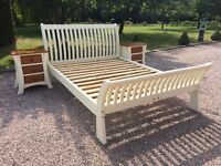 Quality solid wood, king size Sleigh bed, with bedside tables. Farrow & Ball painted