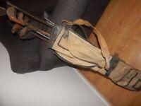 VINTAGE CANVAS ANTIQUE GOLF BAG Plus CLUBS MAINLY HICKORY Wooden UNUSUAL GREAT LOT Bundle