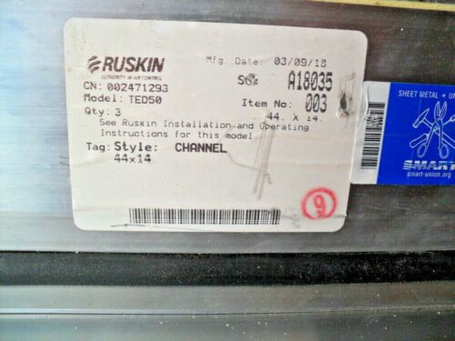 "RUSKIN TED50 Alum. rectangular, thermally efficient, airfoil blade, 44"" x 14"""