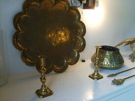 Brass ware:- candle sticks, bowl, plaque, eagle, fireplace tools