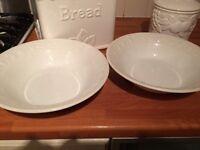 2 Medium White Fruit Embossed serving bowls