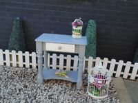 SOLID PINE FARMHOUSE SIDE TABLE WITH 1 DRAW PAINTED WITH LAURA ASHLEY PALE DOVE AND PARIS GREY