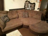 Dfs brown corner sofa and cuddle chair