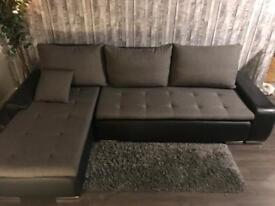 Luxury corner sofa bed, leather and fabric