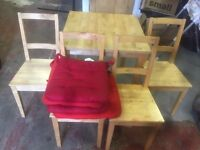 IKEA PINE DINING TABLE & CHAIRS