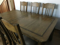 Dining Table Extendable with Six Chairs - Oak Furniture Land