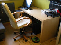 Ikea malm executive computer desk and leather chair.