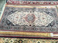 Delightful Small Vintage Oriental 100% Wool Rug