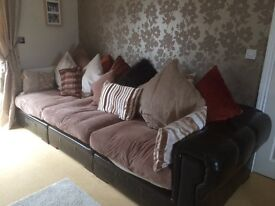 Two matching leather/material sofa with foot stool - must go!!